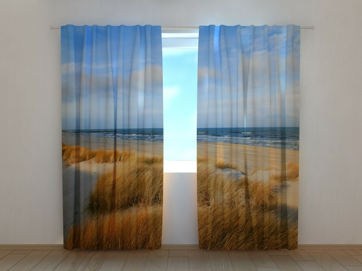 Printed Curtain Dunes on the Baltic sea Shore Wellmira Ready Made 3D Living Room