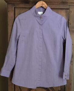 Soft Surroundings Women's PL 3/4 Sleeved Lavender Cotton Stretch Button Blouse