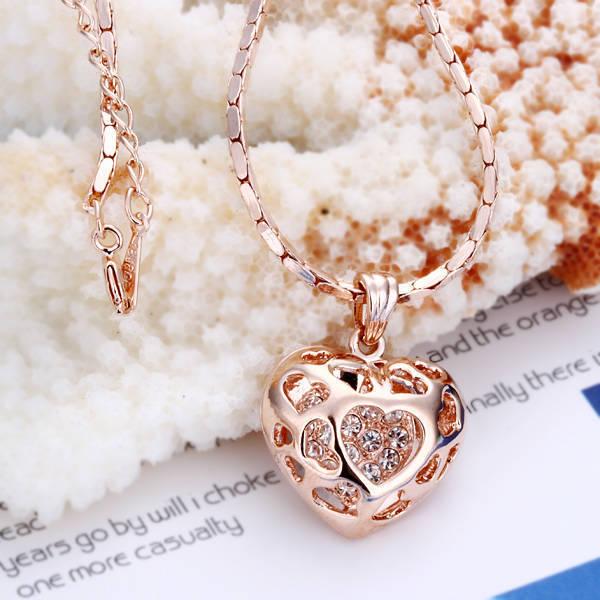18K Rose Gold Filled Filigree Heart Pendant Necklace With Swarovski Crystal RS36