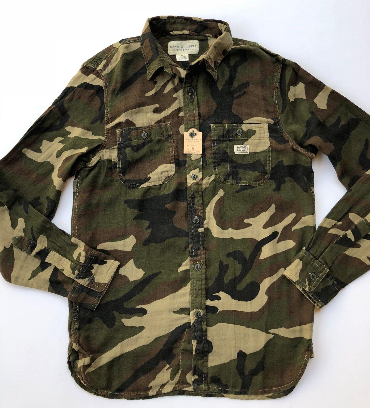 Men S Ralph Lauren Denim & Supply Button Front Military Camo Shirt NEW