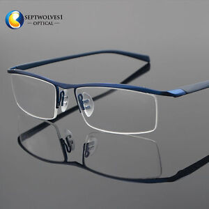 94e3ae1c2648 Men s Half Rimless Titanium Eyeglass Frame Spectacles Glasses ...