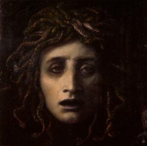 Medusa-by-Arnold-Bocklin-Handmade-Oil-Painting-Reproduction-on-Canvas-30-034-x-30-034