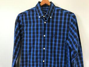 Mens-Fred-Perry-Long-Sleeve-Button-Down-Shirt-sz-XS-Logo-Blue-Black-Plaid-Check