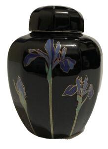 Vintage-Otagiri-Blue-Iris-Porcelain-Ginger-Jar-Vase-Black-Gold-Floral-Japan