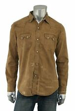 Ralph Lauren RRL Vintage Distressed Repaired Denim Shirt S New $395