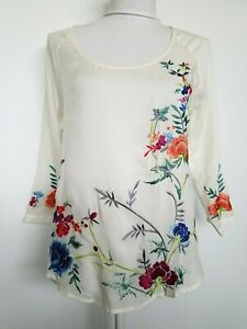 Lucky-Brand-Embroidered-Floral-Blouse-Shirt-Top-Boho-Ivory-Semi-Sheer-Size-XS