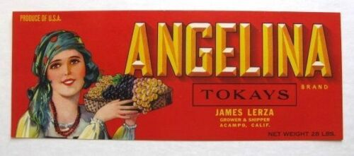 1940s Angelina Gypsy Grape Crate Label Red