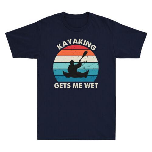 Kayak me fait humide drôle KAYAK cadeau Vintage rétro Homme Coton T-Shirt Noir