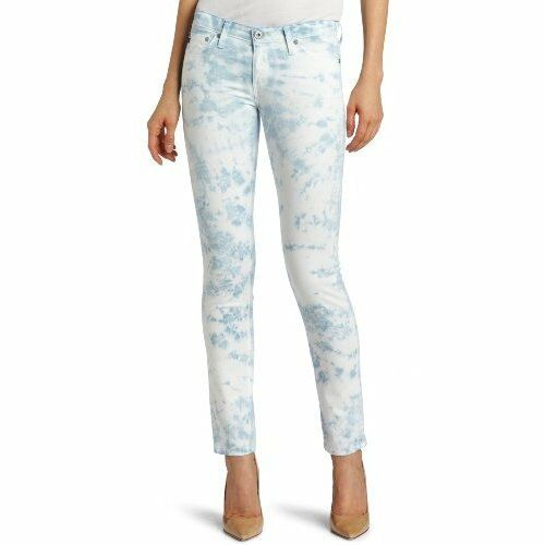 NWT ADRIANO goldSCHMIED Sz25 THE STILT CIGARETTE JEAN SKINNY-STRETCH ICE blueE