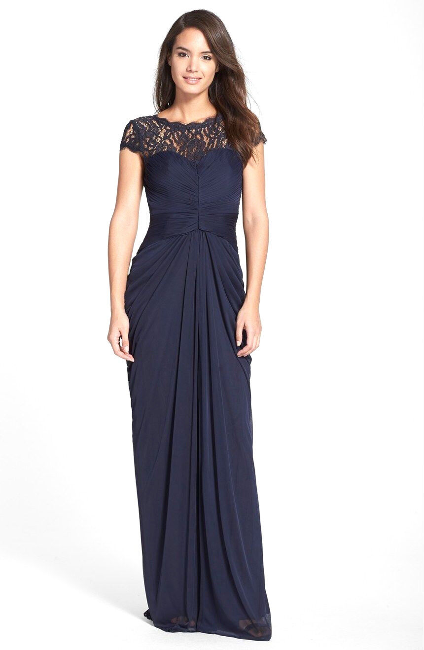 Adrianna Papell Navy Ink Lace Yoke Jersey Drape Gown Size 10 7804