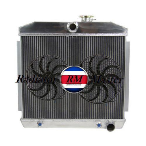 """ALUMINUM RADIATOR FOR 1955-1957 CHEVY NOMAD BEL-AIR V8 STYLE ENGINE 3ROW+10/"""" Fan"""