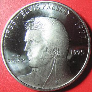 1995-MARSHALL-ISLAND-5-AU-BU-ELVIS-PRESLEY-COLLECTABLE-COIN-CU-NI-no-silver