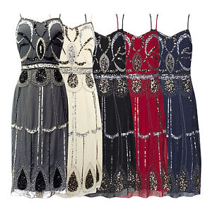 CHARLESTON-FLAPPER-GATSBY-1920-STRAPPY-SEQUIN-CALF-LENGTH-COCKTAIL-DRESS-NEW