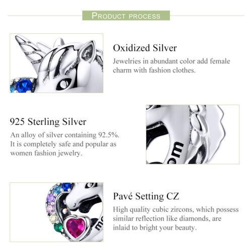 BAMOER Authentic .925 Sterling Silber Pferd für Mama mit CZ Fit Armband Schmuck
