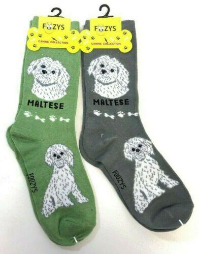 Maltese White Dog Pooch Puppy 2 Pairs Women/'s Foozys Canine Socks Cute Animal