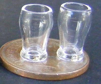1:12 Scale 2 Glass Beer Mugs Tankards Tumdee Dolls House Pub Bar Accessory GLA39