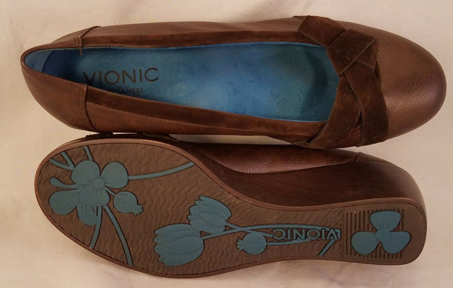 VIONIC ORTHAHEEL WOMAN SHOES WEDGES PLATFORM LOAFERS BROWN SIZE SIZE SIZE 39.5  US 8.5 3c6923