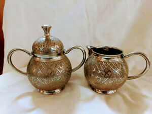 H-H-India-Brass-with-silver-tone-plating-Creamer-and-Sugar-Set-D-117A-and-D117