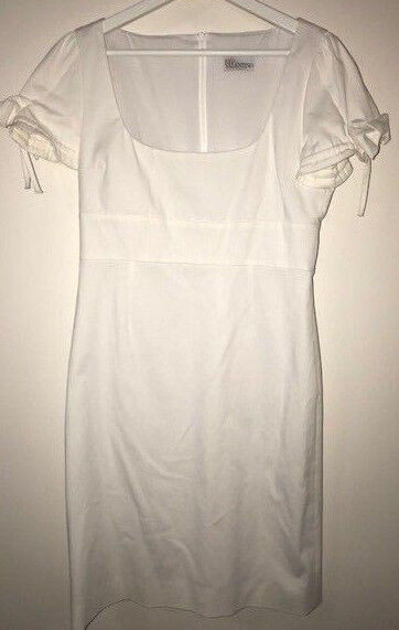 New rot Valentino Weiß cotton blend Puffed short sleeves Dress sz 42IT 6US
