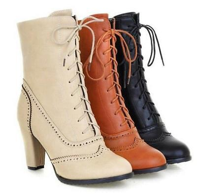Womens Fashion British Brogue Round Toe Lace Up Block Mid Heel Ankle Boots Size