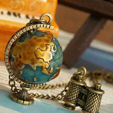 Vintage Bronze Chain Glob Earth Telescope Tellurion Enamel Pendant Necklace