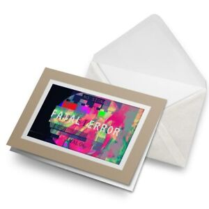 Greetings-Card-Biege-Fatal-Error-TV-Gaming-Signal-Retro-21946