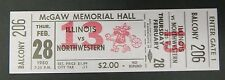Illinois Vs Northwestern Feb 28, 1980 Mcgaw Memorial Hall Full Ticket Unused
