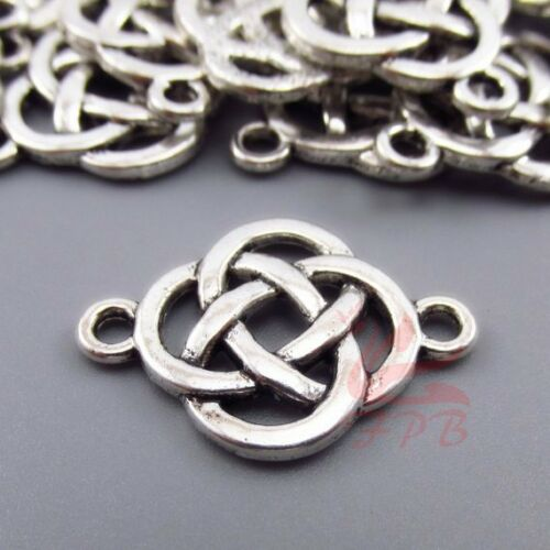 Celtic Knot Charms 25mm Antiqued Silver Plated Connectors SC0080715-4//15//30PCs