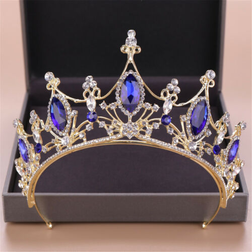 """3/"""" High Adult Blue Crystal Wedding Bridal Party Pageant Prom Tiara Crown US"""
