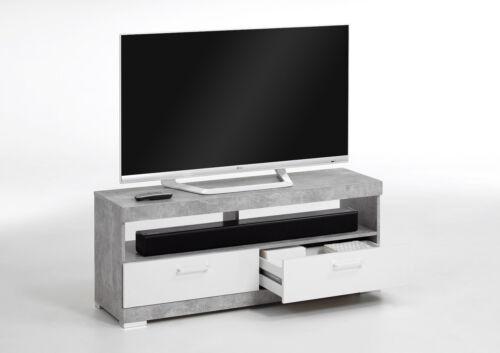 TV Lowbaord Kommode HiFi Bristol 5 Beton Weiß Edelglanz Breite 120cm
