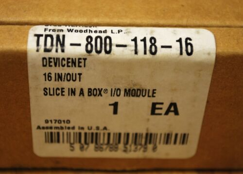 NEW Woodhead TDN-800-118-16 DeviceNet 16 IN//OUT Slice in a Box I//O Module