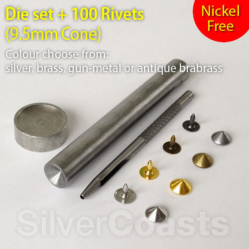 Die Set Punch Tool Stud Sewing Leather craft Jeans 9.5mm Brass 100 Cone Rivets