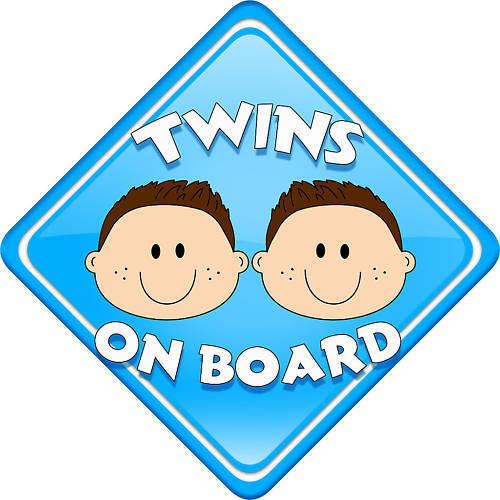 New 3 Boy twins car sign Child // baby on board
