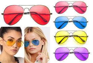 RETRO-ANOS-80-de-Color-Lentes-Gafas-de-sol-Aviator-proteccion-UV-Tonos-Disfraz