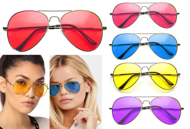 de Color Lentes Gafas de sol Aviator Protección uv Shades Retro Años 80 Disfraz