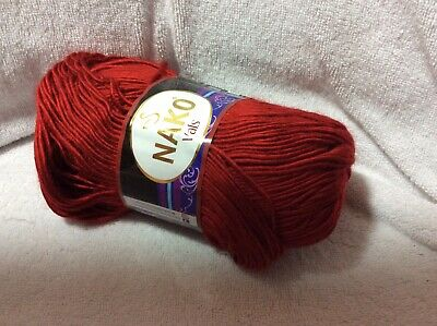 New Nako Vals Yarn Dark Red 262 Yards Acrylic Fiber Soft Texture Shiny In Color