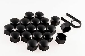 Set-20-Black-Car-Caps-Bolts-Alloy-Wheels-For-Nuts-Covers-19mm-ABS-PC-Plastic