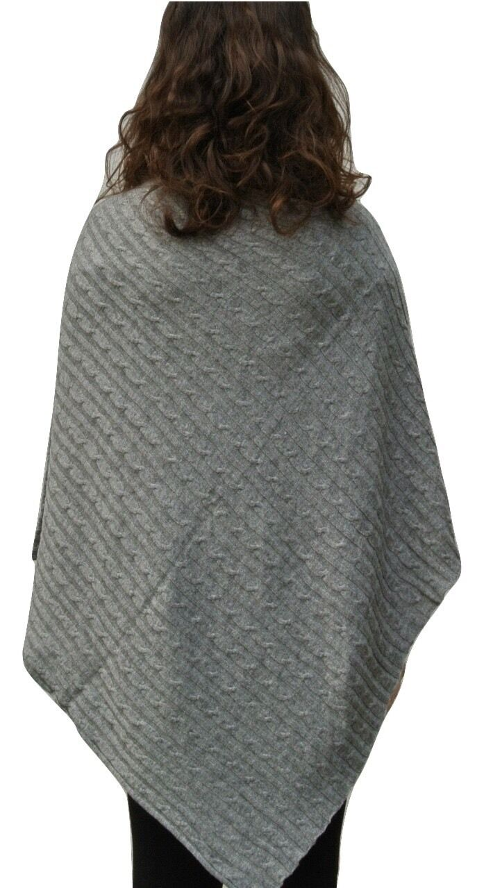 100% Pure grau Cashmere Luxury Cable Knit Poncho in mid grau Pure Handcrafted In Nepal 3fb58d