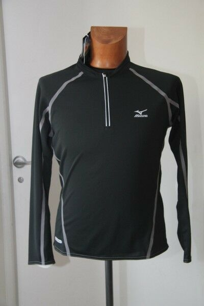 Original tee shirt ML running homme MIZUNO zippé Dry Science UV T   S  black neuf