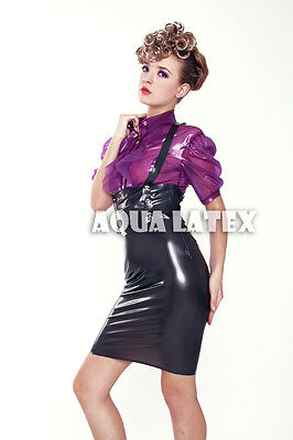 Women Slip on Pencil Latex Skirt Rubber Latex Dress Suspender with Snappy Button