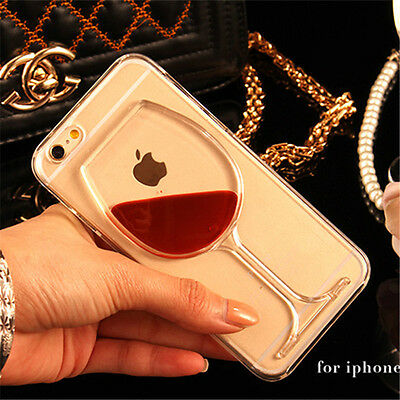 Liquid Quicksand wine glass cocktail bottle Phone Case Cover For iPhone 5S 6Plus