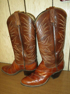 4bc28f17884 Details about Woman's Cowboy Boots Eel Skin & Leather Dan Post 15