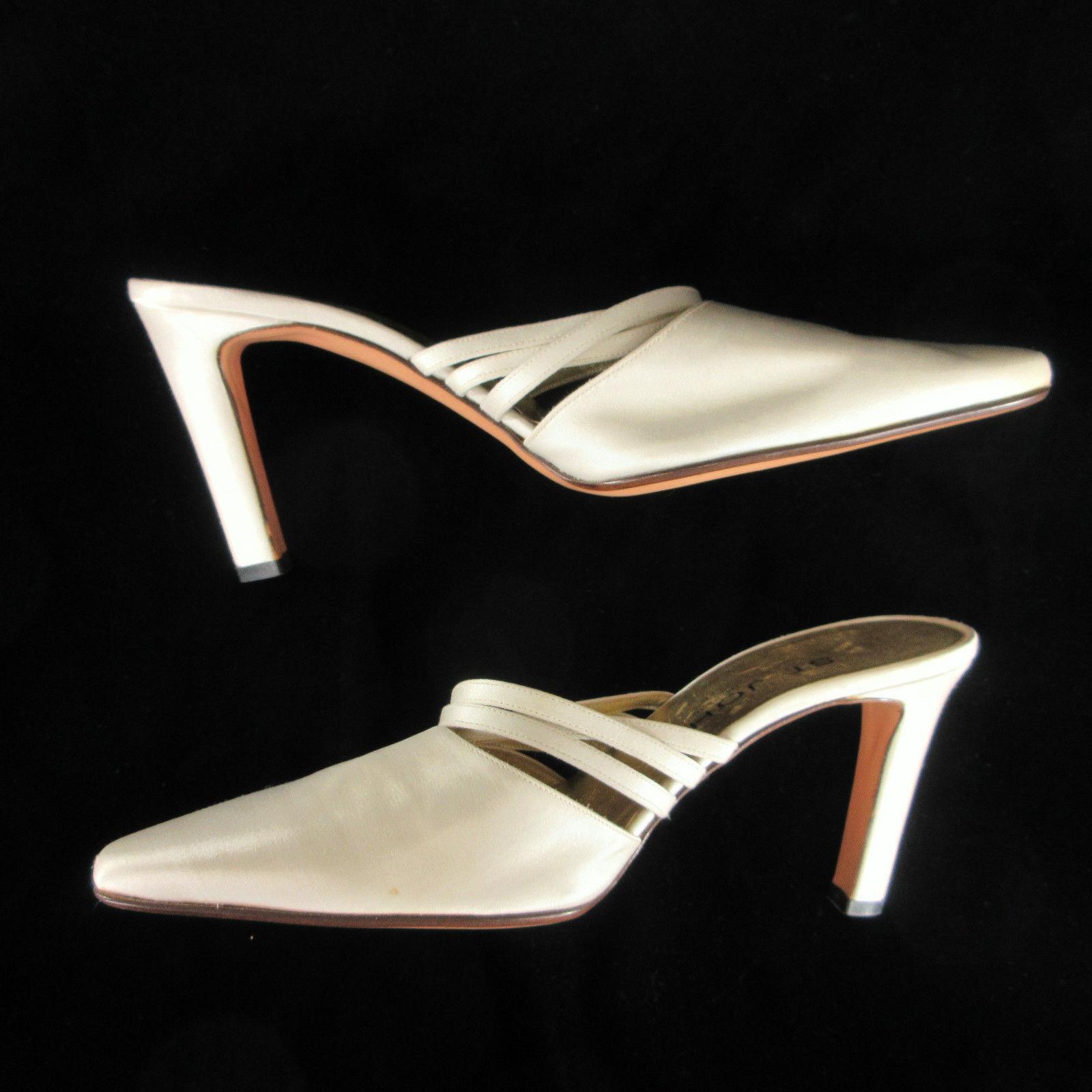St John Damenschuhe HIgh Heels 9 Ivory Satin Strappy Mules Formal Dressy Schuhes