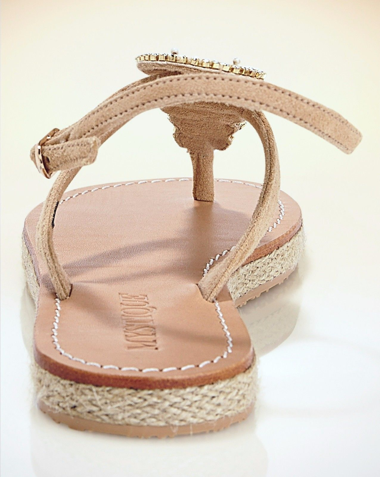 MYSTIQUE 7 Jeweled Mother of Pearl Leather Thong Thong Thong Espadrille Ankle Strap Sandals 06ab0b