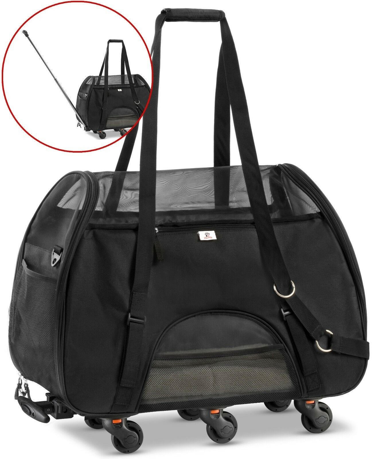 WPS Wheeled Airline Approved Pet Carrier for Small Pets. Newly Upgraded