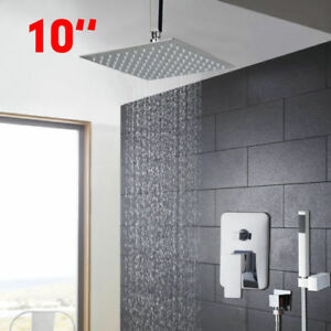 overhead rain shower head with handheld. Image Is Loading 10 039 Ceiling Mount Brass Rainfall Shower  System With Head