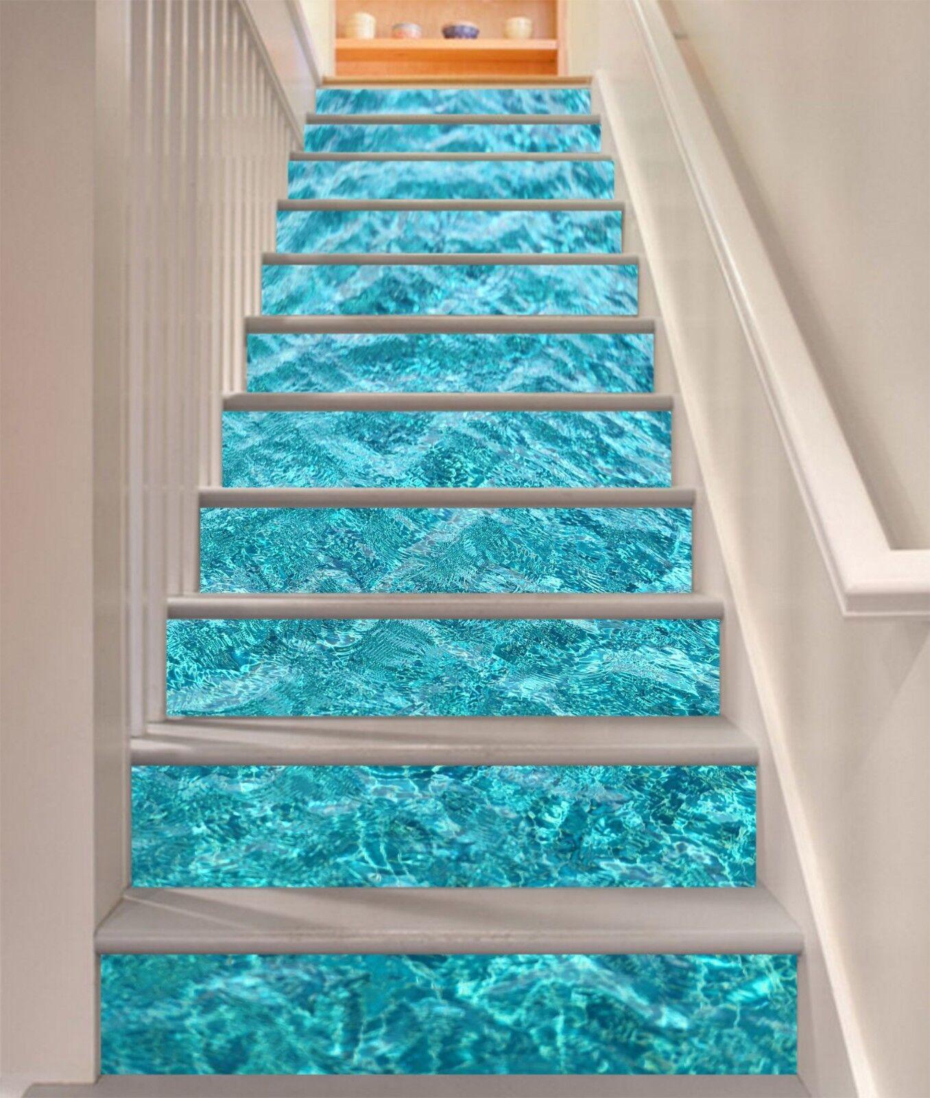 3D Bule Water Stair Risers Decoration Photo Mural Vinyl Decal Wallpaper CA