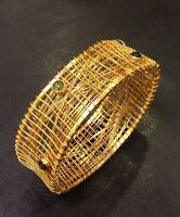 Braided Art Bangle Vermeil Silver 925 Colored Stones 46.5 Grams Msrp $255