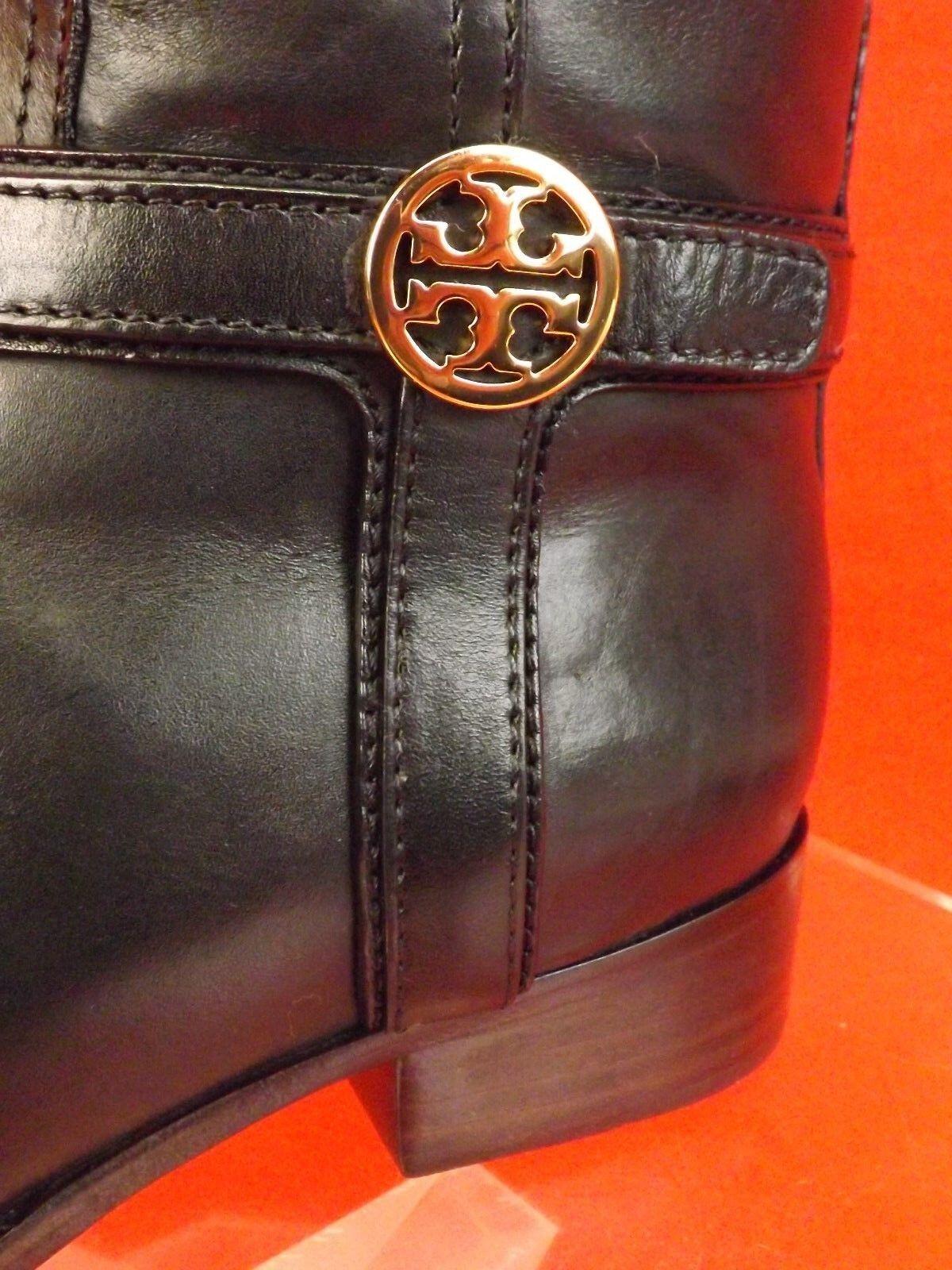 New New New in Box Tory Burch Bristol Cuir Noir Or Reva Tall Harnais Équitation Bottes 8.5 ac23f7