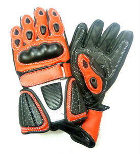 Kids-Childrens-Sport-Minimoto-Motorcycle-Racing-Leather-G-304-Glove-Red-T